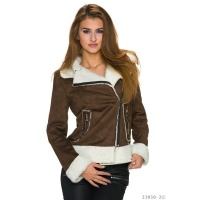 NOBLE WINTER JACKET IN BUCKSKIN-LOOK WITH FAKE FUR DARK...