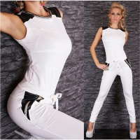 NOBLE SLEEVELESS OVERALL JUMPSUIT WHITE