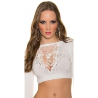 ELEGANT FINE-KNITTED CROP SWEATER WITH RHINESTONES CREAM...