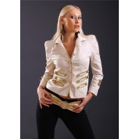 NOBLE BLAZER JACKET WITH CORDED APPLICATIONS BEIGE/GOLD