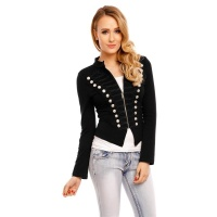 NOBLE BLAZER JACKET WITH BUTTONS IN MILITARY-LOOK BLACK