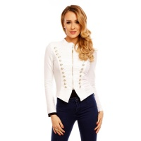 NOBLE BLAZER JACKET WITH BUTTONS IN MILITARY-LOOK WHITE