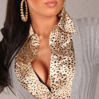 PRECIOUS BLOUSE-SWEATER LEOPARD-LOOK GREY/GOLD UK 10/12 (S/M)
