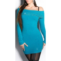 PRECIOUS FINE-KNITTED LONG SWEATER WITH RHINESTONES SAPPHIRE