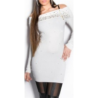 PRECIOUS FINE KNITTED LONG SWEATER WITH RHINESTONES WHITE