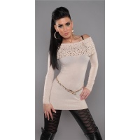 PRECIOUS FINE-KNITTED SWEATER LONG SWEATER WITH ZIPPER BEIGE