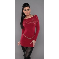 PRECIOUS FINE-KNITTED SWEATER LONG SWEATER WITH ZIPPER DARK RED