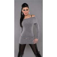 PRECIOUS FINE-KNITTED SWEATER LONG SWEATER WITH ZIPPER GREY