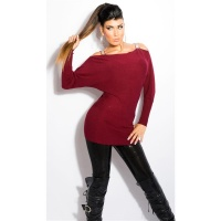 ELEGANT FINE-KNITTED CARMEN SWEATER LONG SWEATER WINE-RED