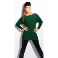 ELEGANT FINE-KNITTED CARMEN SWEATER LONG SWEATER DARK GREEN
