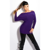 ELEGANT FINE-KNITTED CARMEN SWEATER LONG SWEATER PURPLE