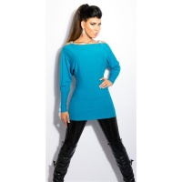 ELEGANT FINE-KNITTED CARMEN SWEATER LONG SWEATER TURQUOISE