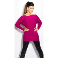 ELEGANT FINE-KNITTED CARMEN SWEATER LONG SWEATER VIOLET