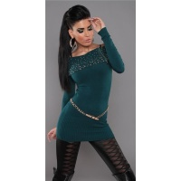 PRECIOUS FINE-KNITTED SWEATER LONG SWEATER WITH ZIPPER PETROL