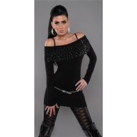 PRECIOUS FINE-KNITTED SWEATER LONG SWEATER WITH ZIPPER BLACK