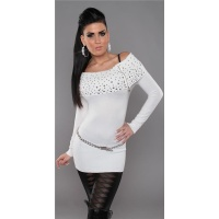 PRECIOUS FINE-KNITTED SWEATER LONG SWEATER WITH ZIPPER WHITE Onesize (UK 8,10,12)