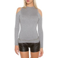 NOBLE RIB-KNITTED COLD SHOULDER SWEATER WITH GLITTER GREY