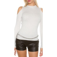 NOBLE RIB-KNITTED COLD SHOULDER SWEATER WITH GLITTER...