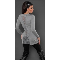 PRECIOUS FINE-KNITTED LADIES LONG SWEATER WITH FINE LACE...