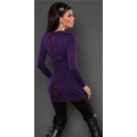 PRECIOUS FINE-KNITTED LADIES LONG SWEATER WITH FINE LACE PURPLE