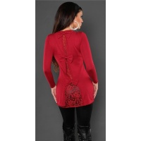 PRECIOUS FINE-KNITTED LADIES LONG SWEATER WITH FINE LACE RED