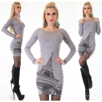 NOBLE LADIES FINE-KNITTED LONG SWEATER PULLOVER PARIS GREY