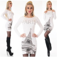 NOBLE LADIES FINE-KNITTED LONG SWEATER PULLOVER PARIS WHITE