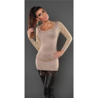 NOBLE FINE-KNITTED LADIES LONG SWEATER WITH LACE SLEEVES BEIGE