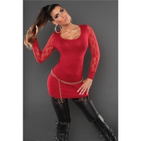 NOBLE FINE-KNITTED LADIES LONG SWEATER WITH LACE SLEEVES RED