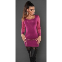 NOBLE FINE-KNITTED LADIES LONG SWEATER WITH LACE SLEEVES...