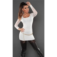 NOBLE FINE-KNITTED LADIES LONG SWEATER WITH LACE SLEEVES WHITE Onesize (UK 8,10,12)