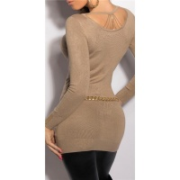 NOBLE FINE-KNITTED LADIES LONG SWEATER WITH CHAINS BEIGE