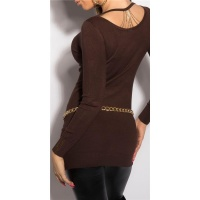 NOBLE FINE-KNITTED LADIES LONG SWEATER WITH CHAINS BROWN
