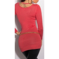 NOBLE FINE-KNITTED LADIES LONG SWEATER WITH CHAINS CORAL