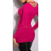NOBLE FINE-KNITTED LADIES LONG SWEATER WITH CHAINS FUCHSIA