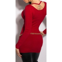 NOBLE FINE-KNITTED LADIES LONG SWEATER WITH CHAINS RED
