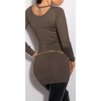 NOBLE FINE-KNITTED LADIES LONG SWEATER WITH CHAINS TAUPE