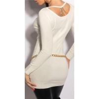 NOBLE FINE-KNITTED LADIES LONG SWEATER WITH CHAINS WHITE