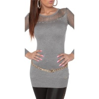 NOBLE FINE-KNITTED LADIES LONG SWEATER WITH LACE GREY