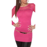 NOBLE FINE-KNITTED LADIES LONG SWEATER WITH LACE FUCHSIA