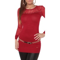 NOBLE FINE-KNITTED LADIES LONG SWEATER WITH LACE RED
