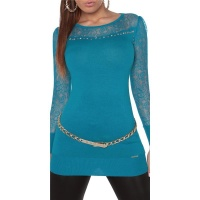NOBLE FINE-KNITTED LADIES LONG SWEATER WITH LACE TURQUOISE Onesize (UK 8,10,12)