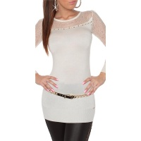 NOBLE FINE-KNITTED LADIES LONG SWEATER WITH LACE WHITE