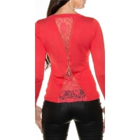 NOBLE FINE-KNITTED LADIES´ SWEATER WITH FINE LACE CORAL Onesize (UK 8,10,12)