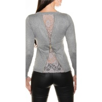 NOBLE FINE-KNITTED LADIES´ SWEATER WITH FINE LACE LIGHT GREY