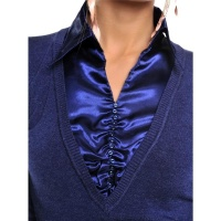 NOBLE FINE-KNITTED LADIES SWEATER WITH SATIN BLOUSE INSET...