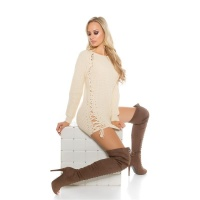 NOBLE COARSE-KNITTED LADIES SWEATER JUMPER WITH LACING BEIGE