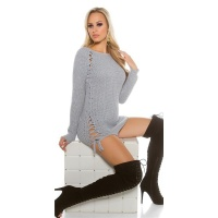 NOBLE COARSE-KNITTED LADIES SWEATER JUMPER WITH LACING GREY