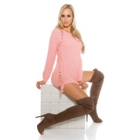 NOBLE COARSE-KNITTED LADIES SWEATER JUMPER WITH LACING PINK