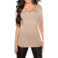 NOBLE LADIES SWEATER WITH GLITTER AND GATHERED SLEEVES BEIGE Onesize (UK 8,10,12)
